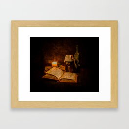Wine and Reading by Candlelight Framed Art Print