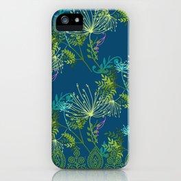 Botanical with Henna Border Navy iPhone Case