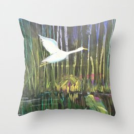 Geese at Amethyst Lagoon Throw Pillow