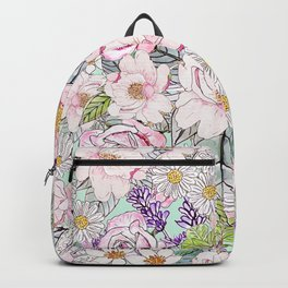 Watercolor garden peonies floral hand paint Backpack
