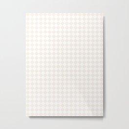 Small Diamonds - White and Linen Metal Print
