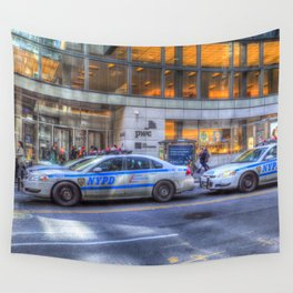 New York police Department Cars Wall Tapestry