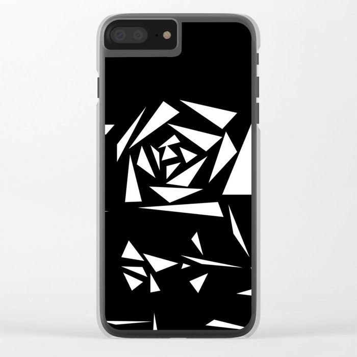 Black and white abstract pattern of Roses. Triangles .1 Clear iPhone Case
