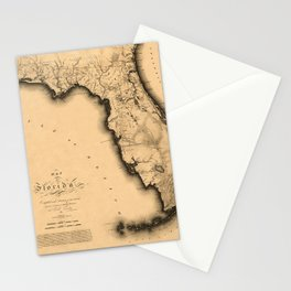 Map Of Florida 1823 Stationery Cards