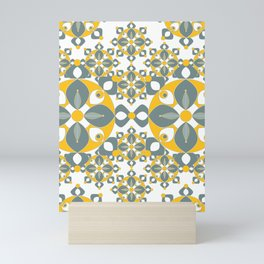 Gold, Grey and White Kaleidoscope Textile Mini Art Print