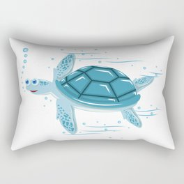 Funny Swimming Turtle Air Bubbles Gift Rectangular Pillow