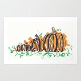 Fall Festive Pumpkins Orange Art Print