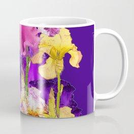 Decorative Contemporary   Pink Yellow & Purple Iris Flowers Coffee Mug