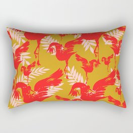 Red cranes with foliage on mustard yellow Rectangular Pillow