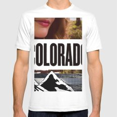 Colorado Bound White Mens Fitted Tee SMALL
