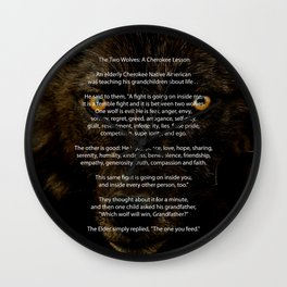 The TWO WOLVES CHEROKEE TALE Wall Clock