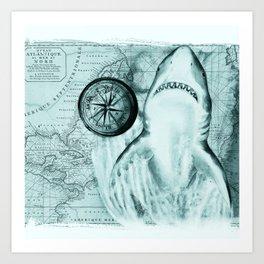 Great White Shark Compass Map Green Art Print