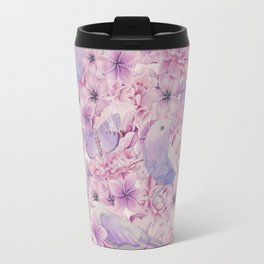 Watercolor Bird And Flower Pattern Travel Mug