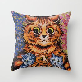 Cat and Her Kittens-Louis Wain Cats Throw Pillow