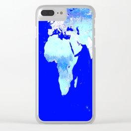 world MAP Blue Turquoise Aqua Clear iPhone Case