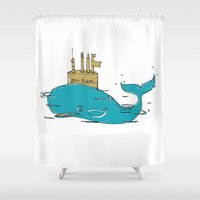 yellow submarine Shower Curtains featuring SUBMARINE by yamini