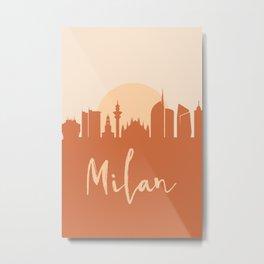 MILAN ITALY CITY SUN SKYLINE EARTH TONES Metal Print