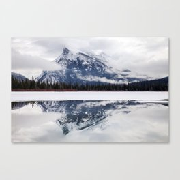 Mount Rundle reflection in Vermillion Lakes, Alberta Canvas Print