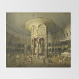 London, Interior of the Rotunda at Ranelagh by Canaletto Throw Blanket