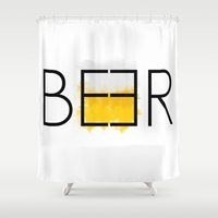 beer Shower Curtains featuring Beer by A Little Leafy
