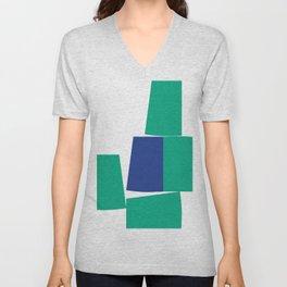 Green and Blue Minimalist Blocks Unisex V-Neck