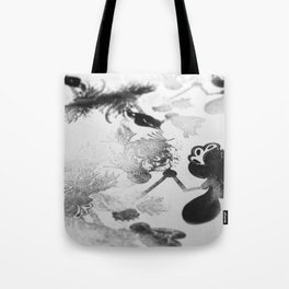 black and white floc Tote Bag