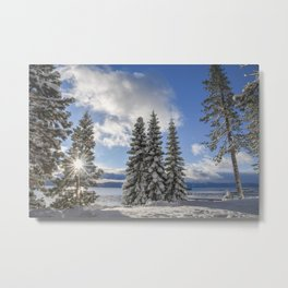 Sunrise in Lake Tahoe with Fresh Snow Metal Print
