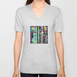 Abstract Multi-Color Digital Collage Unisex V-Neck