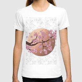 Blooming Sakura Branch on marble T-shirt
