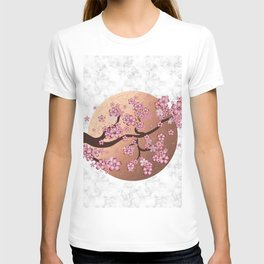 Blooming Sakura Branch on marble T-shirt