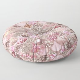 Rose Gold Blush Glitter Ombre Mermaid Scales Pattern Floor Pillow