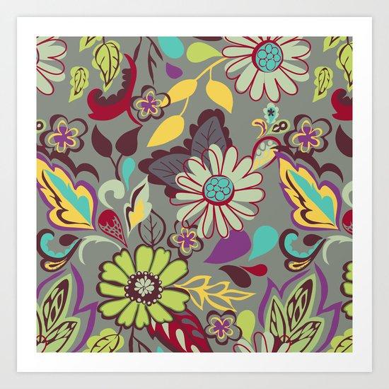 Large Bright Blooms Art Print