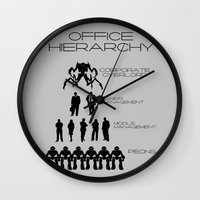 the office Wall Clocks featuring Office Hierarchy by TheShadowTheatre