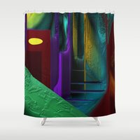 street Shower Curtains featuring Street by Turul