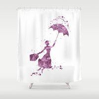 mary poppins Shower Curtains featuring Mary Poppins Disneys by Carma Zoe