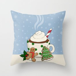 Hot Chocolate and  Gingerbread Cookies - Christmas Throw Pillow
