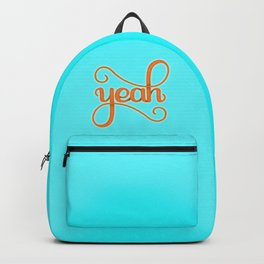 YEAH (BRIGHT HAND LETTERED TYPOGRAPHY ART) Bright Baby Sky Blue and Orange Backpack