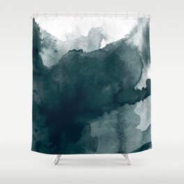 Dark Green Watercolor Marble Shower Curtain