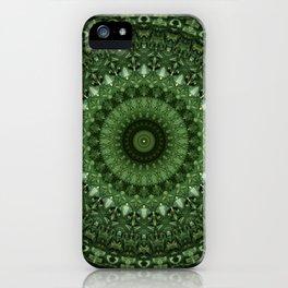 Mandala in olive green tones iPhone Case