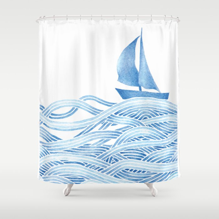 Blue Sailboat Watercolor Nautical Ocean Waves Sea Shower Curtain