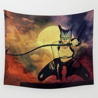 catwoman Wall Tapestries featuring catwoman by Ancello