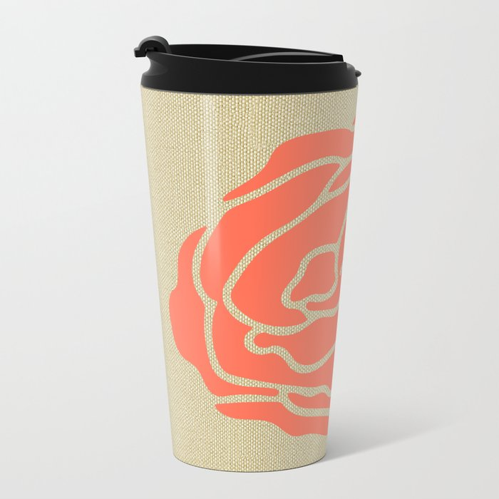 Rose Deep Coral on Linen Metal Travel Mug