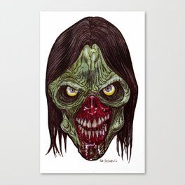 Heads of the Living Dead  Zombies: Black Metal Canvas Print