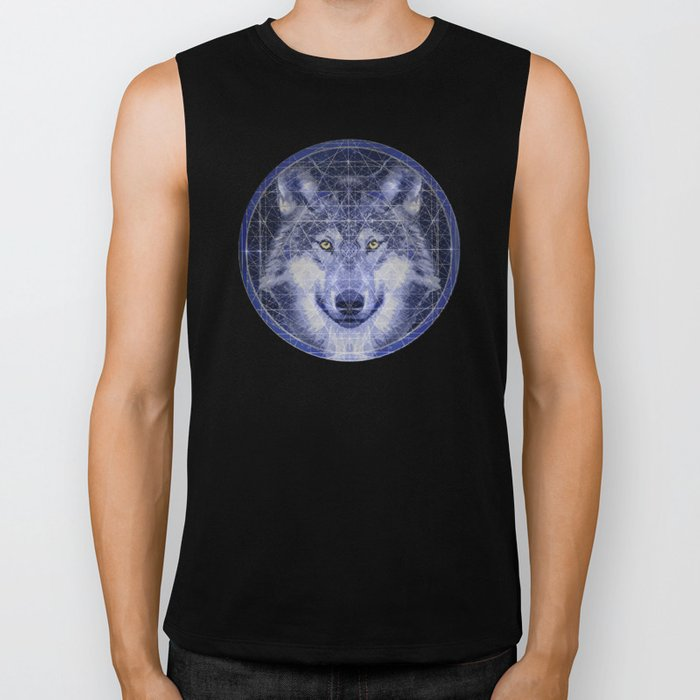 Wolf Geometry Biker Tank