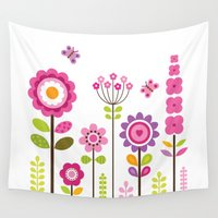mod Wall Tapestries featuring MOD GARDEN by Daisy Beatrice