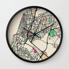 Colorful City Maps: Tel Aviv, Israel Wall Clock