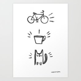 Bicycle Coffee Cat Art Print