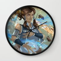korra Wall Clocks featuring Korra by Shoko Lam