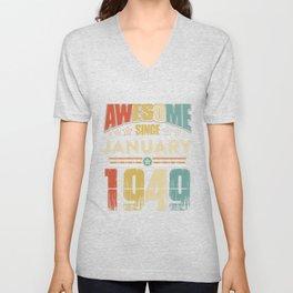 Awesome Since January 1949 T-Shirt Unisex V-Neck