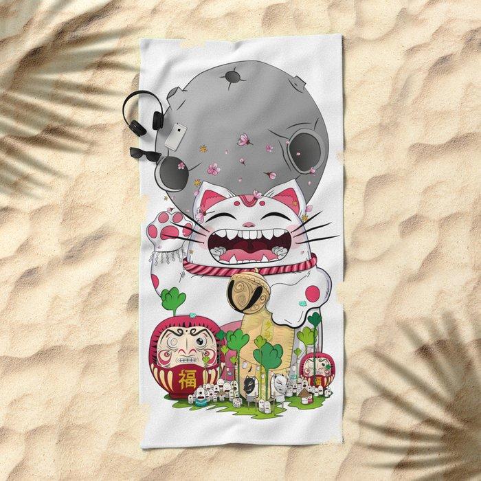 Maneki-neko in the magical world Beach Towel